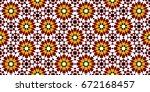 multicolored mosaic moroccan... | Shutterstock .eps vector #672168457