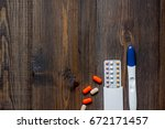 female contraception pills and...   Shutterstock . vector #672171457