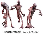 zombie creatures 3d illustration | Shutterstock . vector #672176257