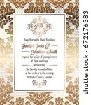 vintage baroque style wedding... | Shutterstock .eps vector #672176383