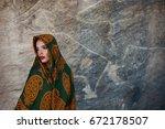beautiful muslim woman portrait ... | Shutterstock . vector #672178507