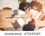 top view business partners... | Shutterstock . vector #672192187