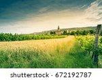 rural landscape in slovenia...   Shutterstock . vector #672192787