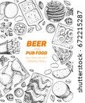 pub food vertical frame  vector ... | Shutterstock .eps vector #672215287