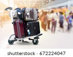 airport luggage trolley with... | Shutterstock . vector #672224047