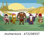 role fantasy warriors and...   Shutterstock .eps vector #672238537