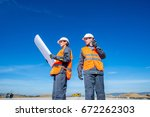 two engineers at airport runway | Shutterstock . vector #672262303