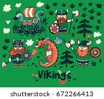 set with three vikings  dragon... | Shutterstock .eps vector #672266413