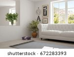 idea of white room with sofa... | Shutterstock . vector #672283393