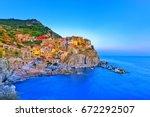 manarola village along the... | Shutterstock . vector #672292507