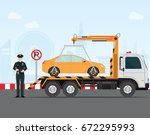 traffic policeman writing a... | Shutterstock .eps vector #672295993