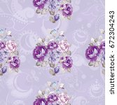 seamless floral pattern with... | Shutterstock .eps vector #672304243