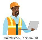 african american builder using... | Shutterstock .eps vector #672306043
