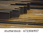 steel h piles or u beams at... | Shutterstock . vector #672306907