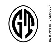 black monogram curved oval... | Shutterstock .eps vector #672309367