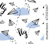 paper airplane on sky seamless...   Shutterstock .eps vector #672321667