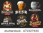 set beer logo   vector... | Shutterstock .eps vector #672327433