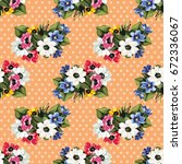 seamless floral pattern with... | Shutterstock .eps vector #672336067