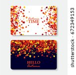 autumn time and hello autumn... | Shutterstock .eps vector #672349153
