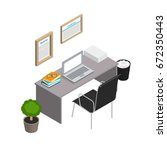 isometric office interior.... | Shutterstock .eps vector #672350443