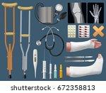 set of medicine surgical... | Shutterstock .eps vector #672358813