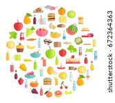 tasty food  grocery products ... | Shutterstock .eps vector #672364363