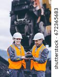 coal mining workers | Shutterstock . vector #672365683