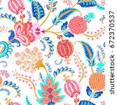 seamless pattern with fantasy... | Shutterstock .eps vector #672370537