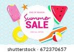 summer sale banner vector...   Shutterstock .eps vector #672370657