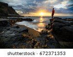 Stock photo alone in front of the sea cap la houssaye saint paul reunion island 672371353