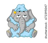 elephant. character. wants to... | Shutterstock .eps vector #672395047