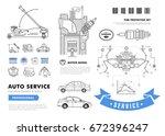 auto service contour line...   Shutterstock .eps vector #672396247
