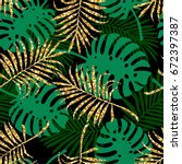 tropical seamless pattern with... | Shutterstock .eps vector #672397387