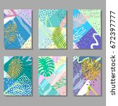 set of artistic colorful... | Shutterstock .eps vector #672397777