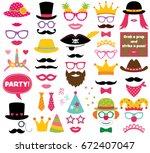 fun party hats  vector photo... | Shutterstock .eps vector #672407047