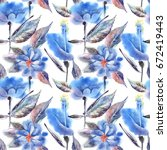 summer flowers seamless pattern.... | Shutterstock . vector #672419443