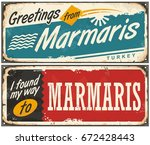 greetings from marmaris turkey... | Shutterstock .eps vector #672428443
