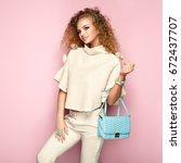 fashion portrait of woman in... | Shutterstock . vector #672437707