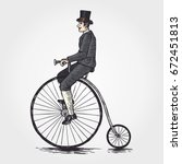 sketch of victorian man riding... | Shutterstock .eps vector #672451813