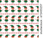 christmas elf with candy cane... | Shutterstock .eps vector #672455257