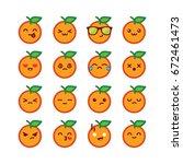 cute orange emoticons | Shutterstock .eps vector #672461473
