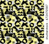 seamless brushpen textile... | Shutterstock .eps vector #672470587