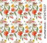 pattern watercolor flowers ... | Shutterstock . vector #672473227