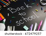 back to school   written on a... | Shutterstock . vector #672479257