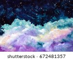 watercolor deep blue sky and... | Shutterstock . vector #672481357