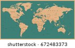 world map vector vintage. high... | Shutterstock .eps vector #672483373