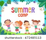 summer poster child kid... | Shutterstock .eps vector #672485113