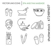 the set of spa and massage... | Shutterstock .eps vector #672489607