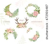 collection of holiday wreaths... | Shutterstock .eps vector #672501487