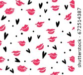 seamless pattern with lipstick... | Shutterstock .eps vector #672514387